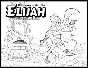 The heroes of the bible coloring pages elijah for Elijah baal coloring page