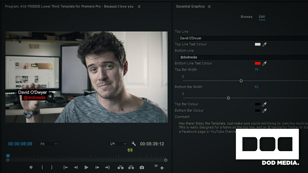 Lower Third Template for Premiere Pro Essential Graphics