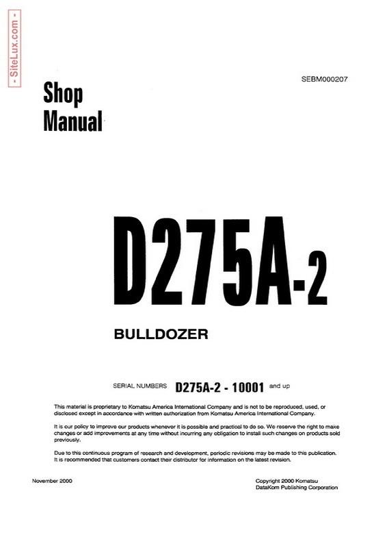 Komatsu D275A-2 Bulldozer (10001 and up) Shop Manual - SEBM000207