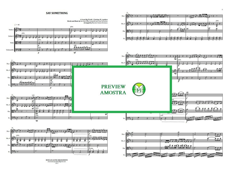 Say Something   A Great Big World   Quarteto de Cordas   Partitura Completa