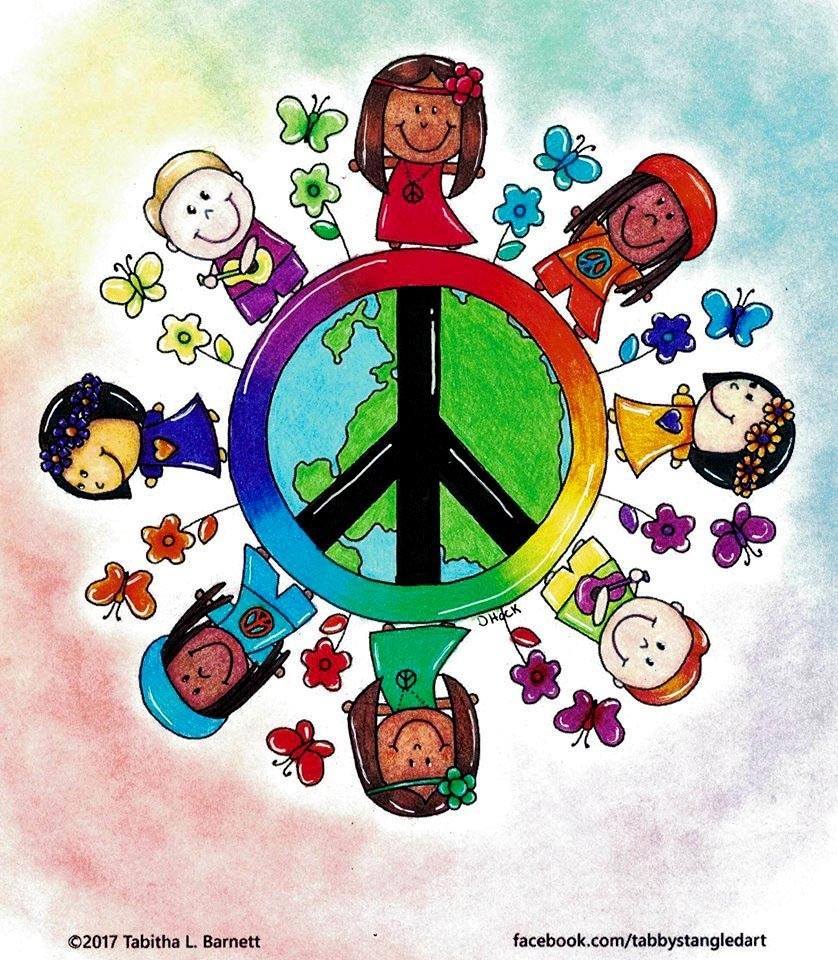 Hippie Children of the World Adult Coloring Page JPG