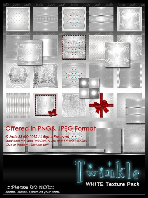 Twinkle:  WHITE Texture Pack-- $6.00