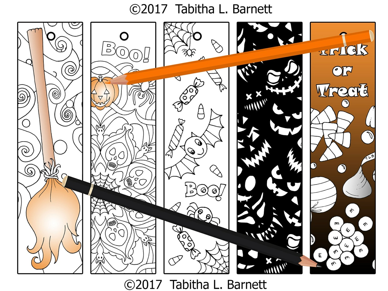 Halloween Coloring Bookmarks JPG SET 1