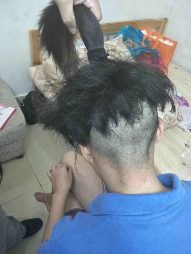 Long hair girl's headshave30