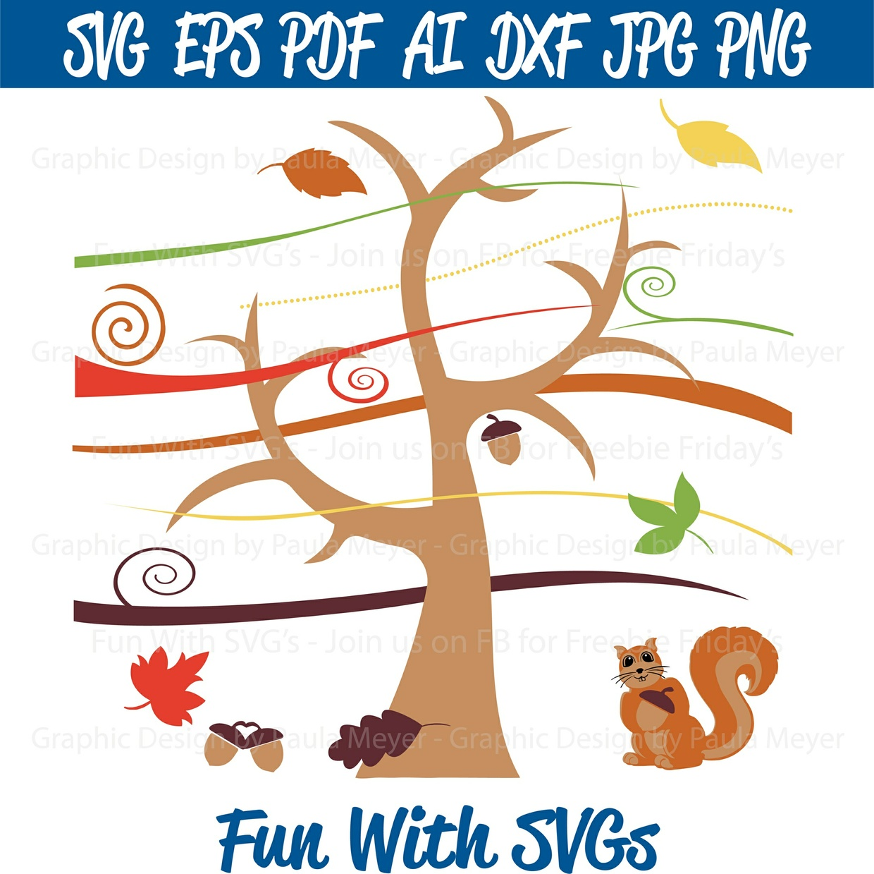Harvest Oak Tree, Acorns, Leaves, Wind and Squirrel - Fun With SVGs - Printable, Cut-able, Editable
