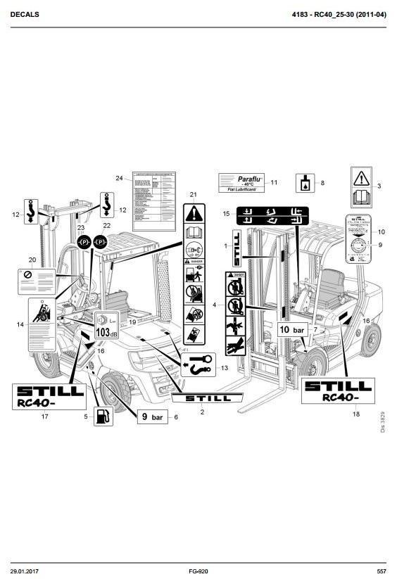 Still Diesel Lift Truck RC40-25, RC40-30: 4031, 4032 Spare Parts Manual, Catalog