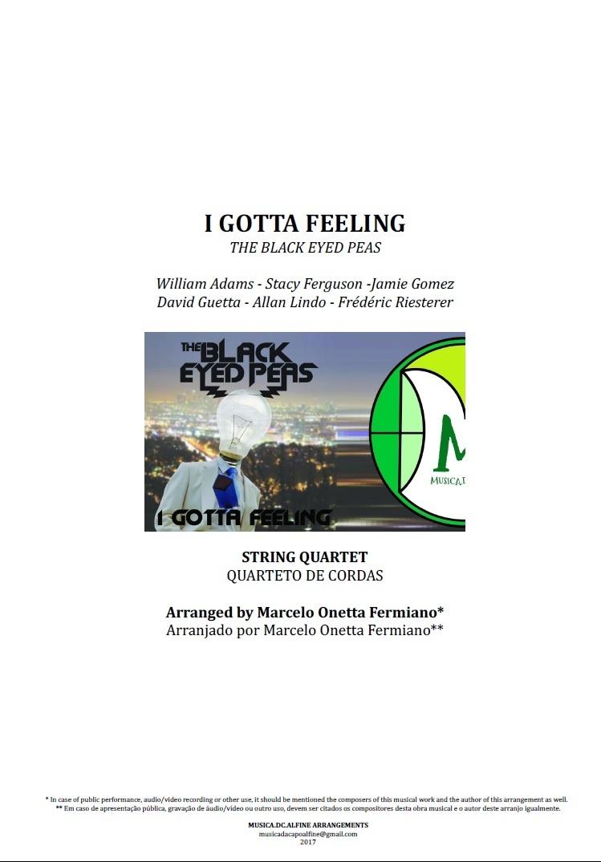 I Gotta Feeling | The Black Eyed Peas | Quarteto de Cordas | Partitura Completa