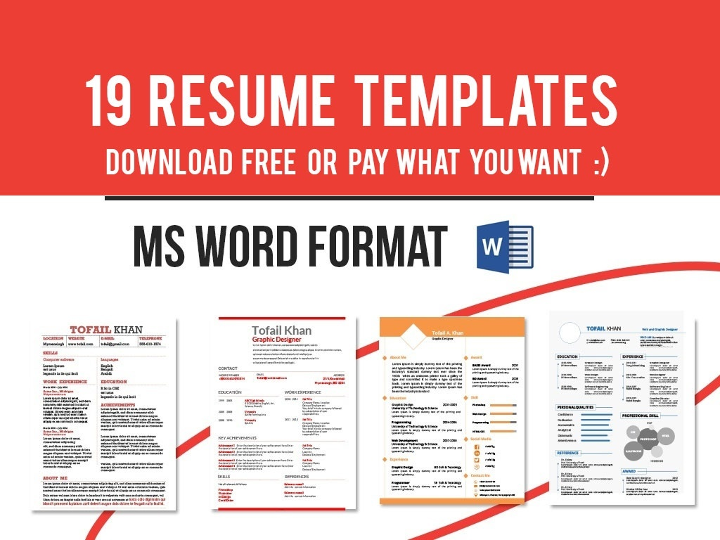 19 Resume Templates in MS WORD DOCX - Free or Pay What You Want