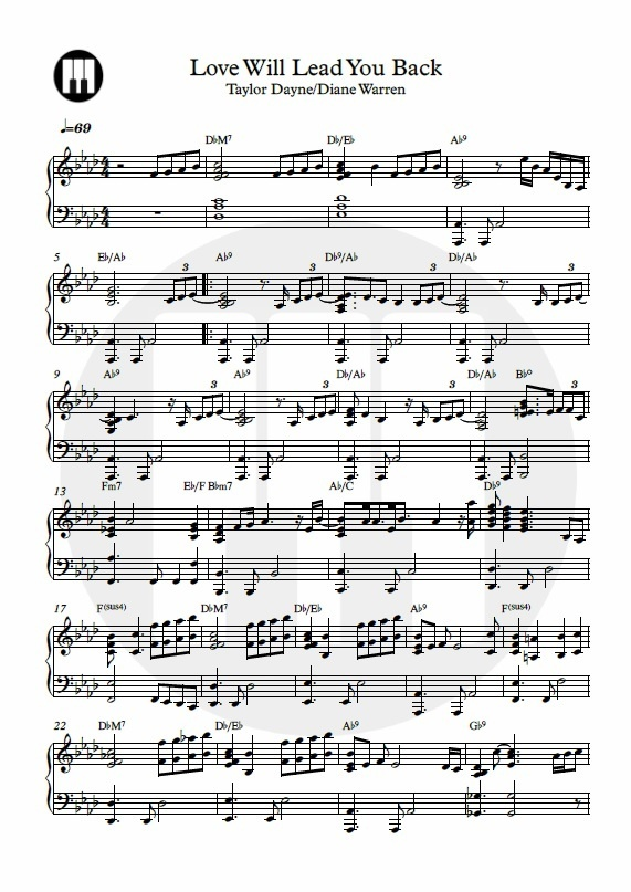 Love Will Lead You Back-Piano Sheet Music