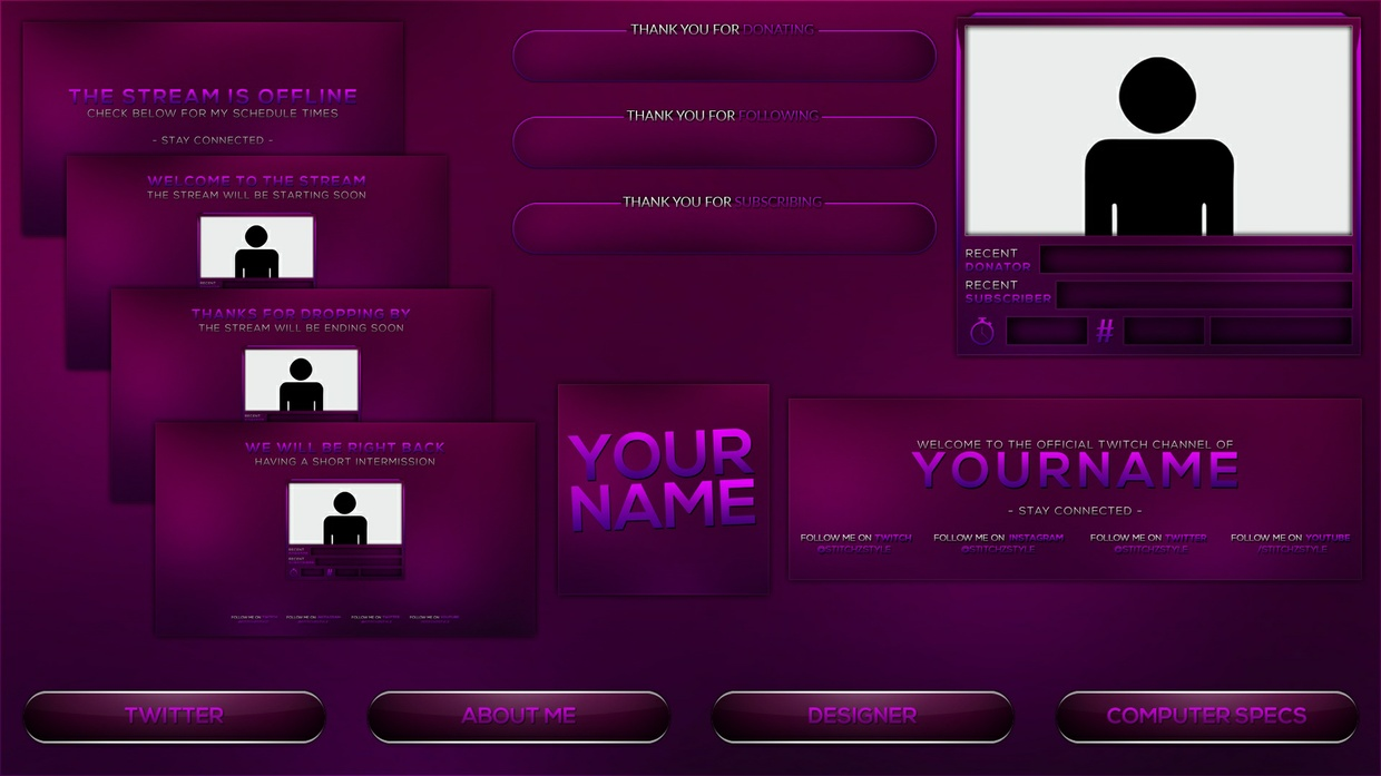 Purple and Pink Twitch Stream Rebrand and Overlay Photoshop Template Pack