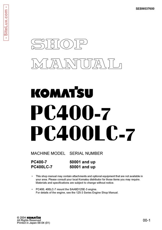 Komatsu PC400-7, PC400LC-7 Hydraulic Excavator (50001 and up) Shop Manual - SEBM037600