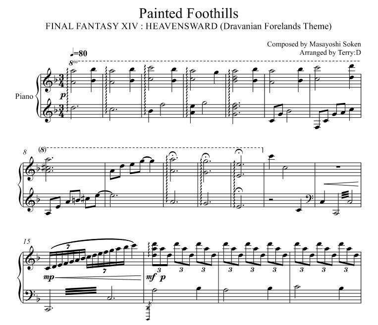 Final Fantasy XIV - Painted Foothills (Arr.by Terry:D) Dravanian Forelands Theme