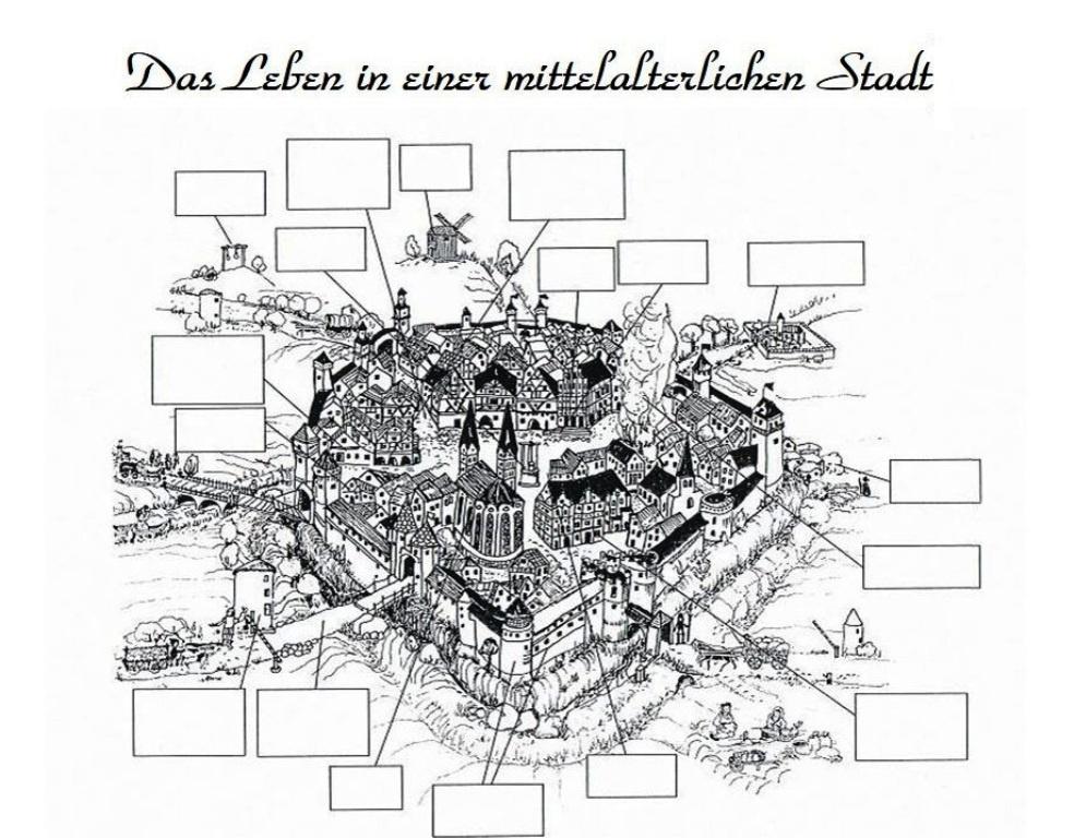 Stationenlernen mit 8 Stationen zu einer mittelalterlichen Stadt