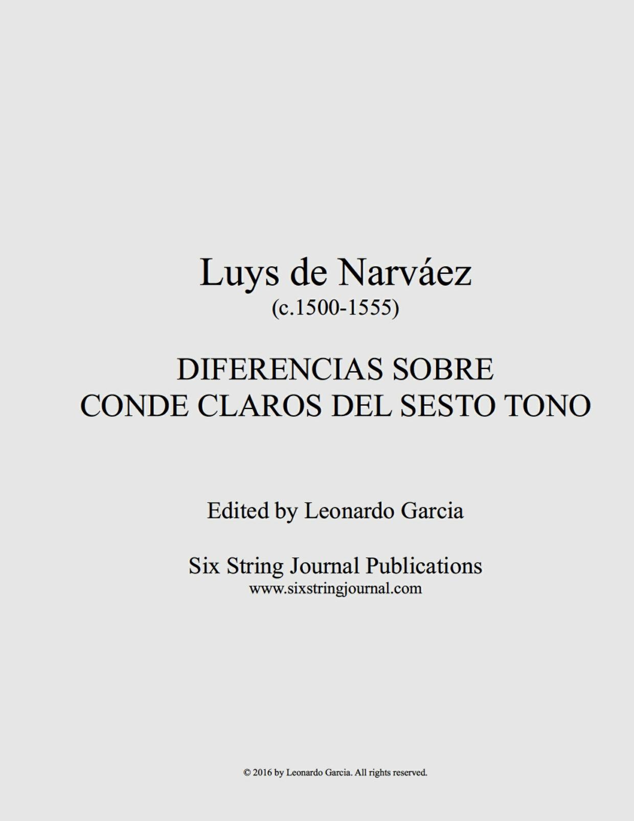 Diferencias Sobre Conde Claros del Sesto Tono (Narváez) SSJE113