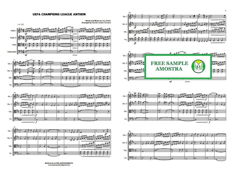 UEFA Champions League Anthem - String Quartet - Score