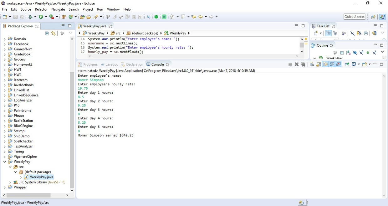 Design a program WeeklyPay -Solution