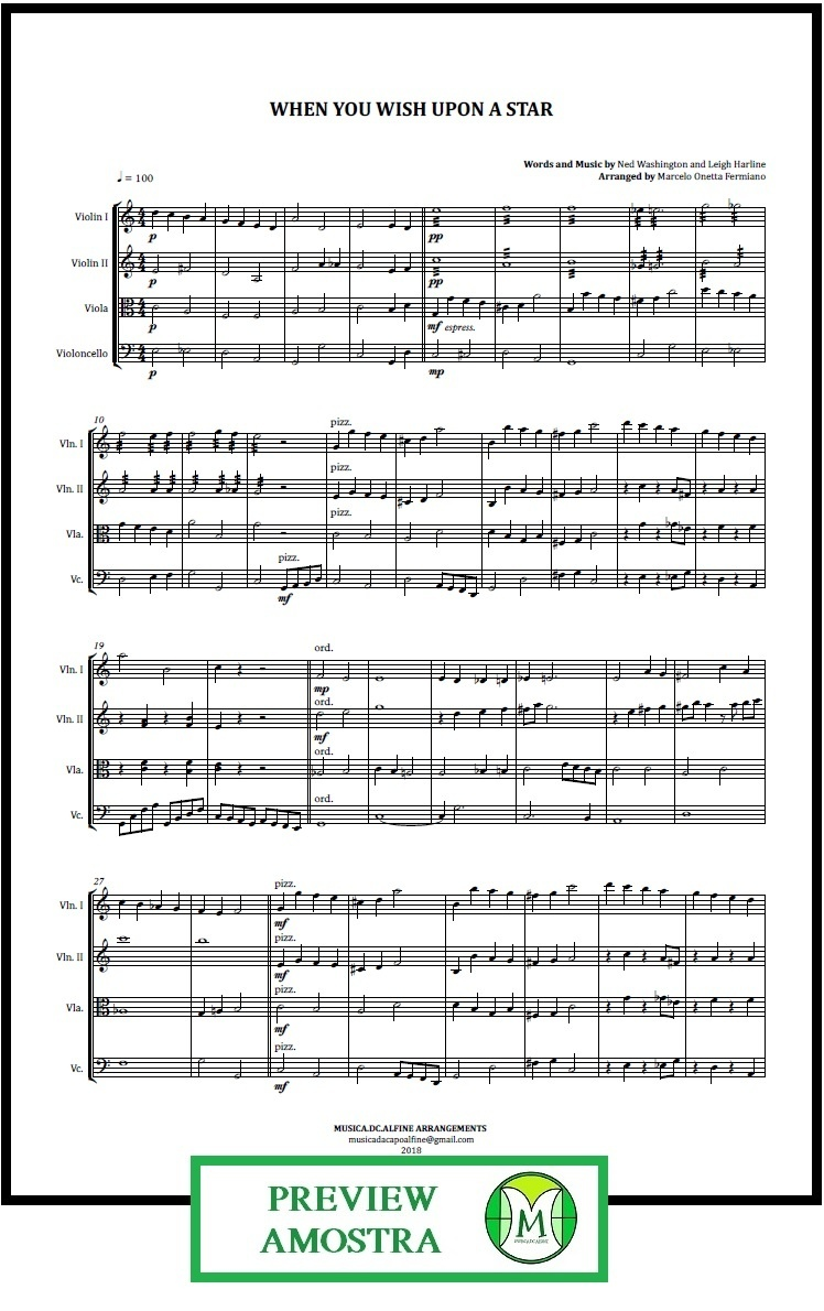 When You Wish Upon a Star   Disney Theme   String Quartet   Score and Parts