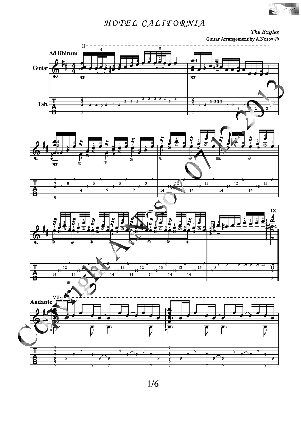 Hotel California (The Eagles) Sheet music for guitar