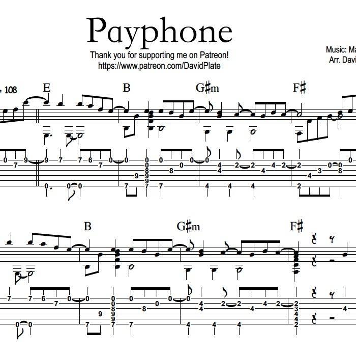 PAYPHONE (Maroon 5) - Fingerstlye Guitar Arrangement - TABs + Notation