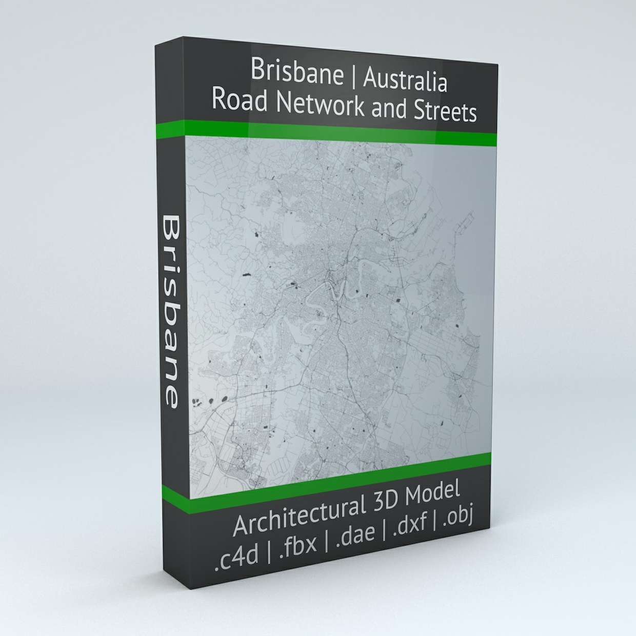 Brisbane Road Network and Streets Architectural 3D Model