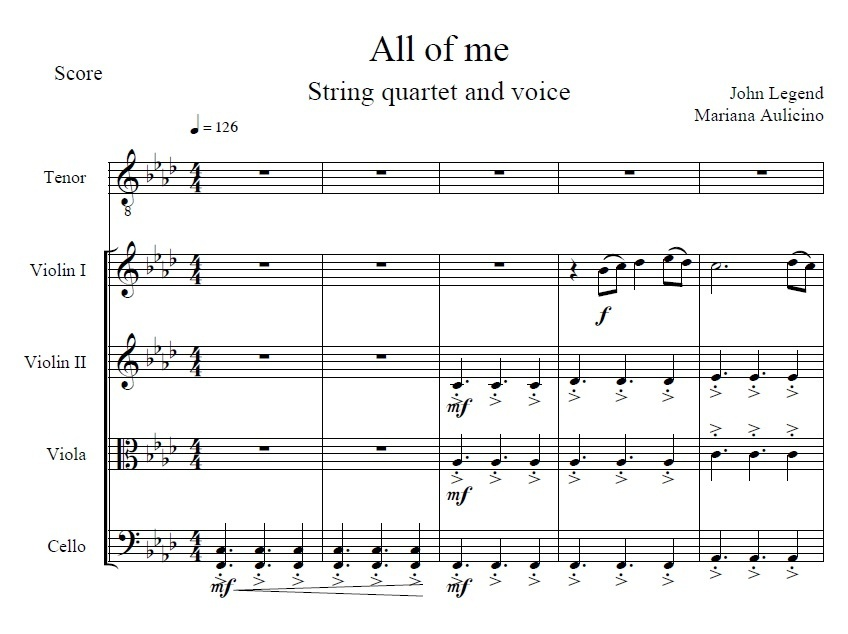 All of me - John Legend - String Quartet + Vocals
