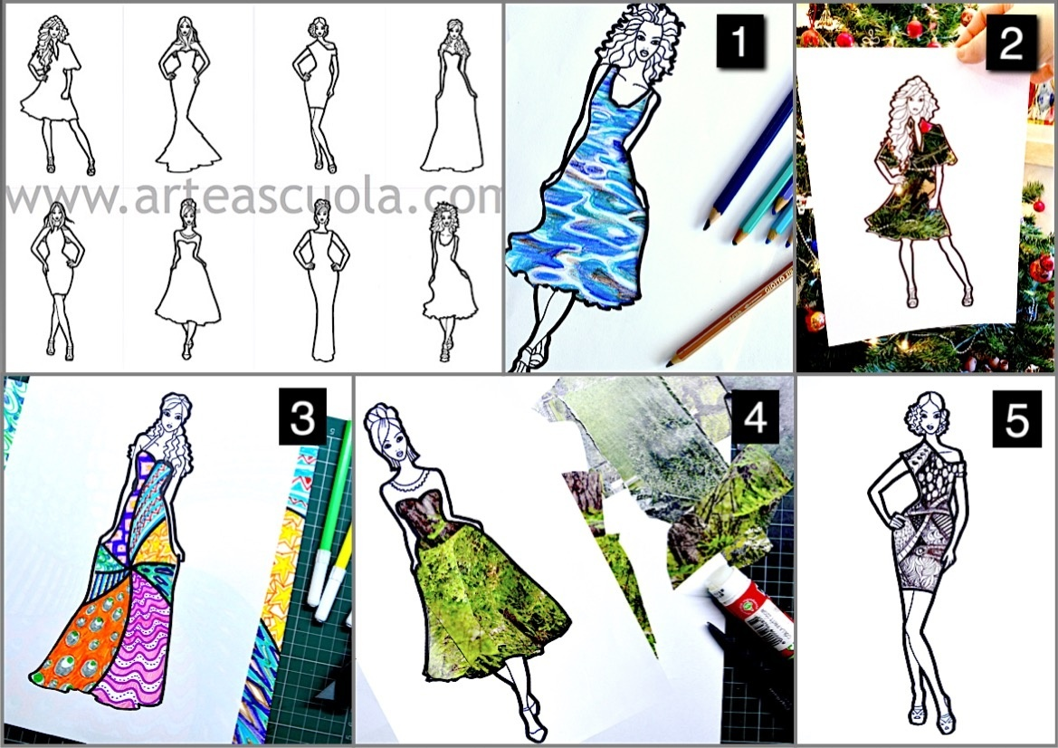 Fashion design with Textures: 8 worksheets