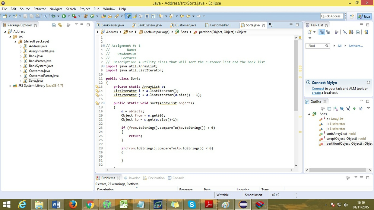Address.java || Assignment8.java || Bank.java || BankParser.java || BankSystem.java || Customer.java