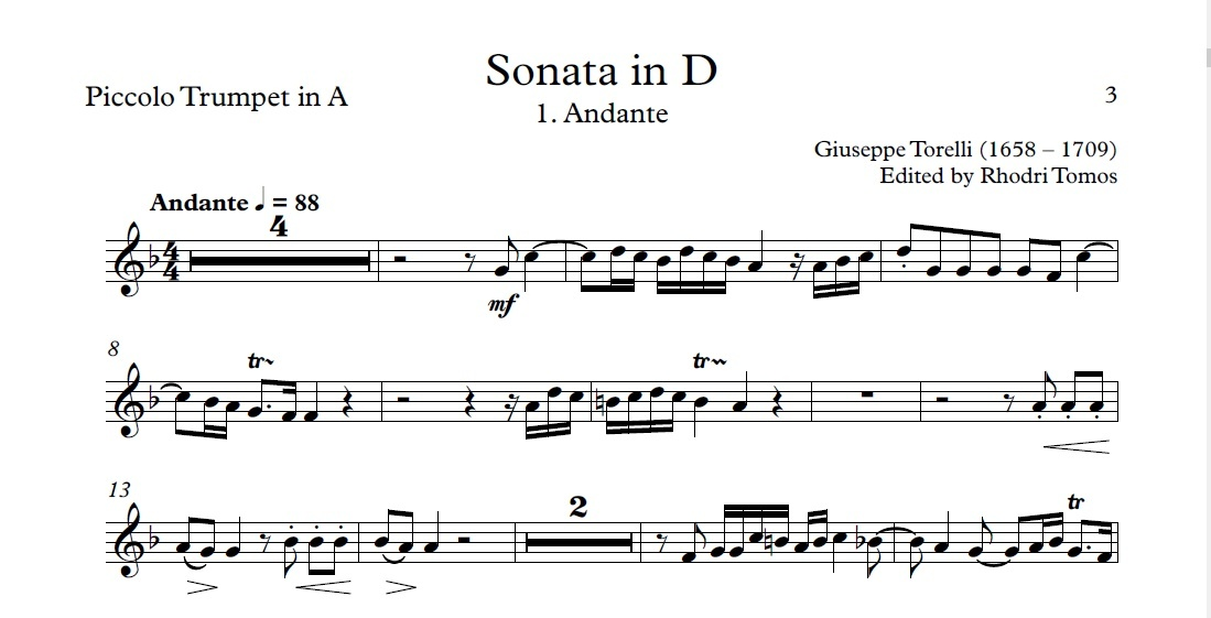 Torelli G1 Sonata for Trumpet in D major - sheet music pdf & accompaniment mp3