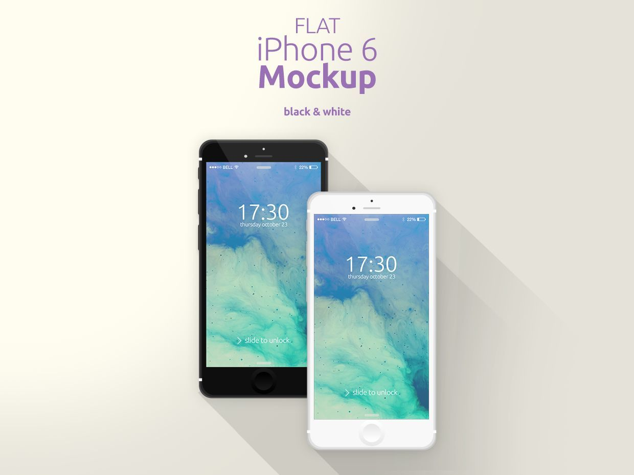 Flat iPhone 6 Mockup [Black & White]