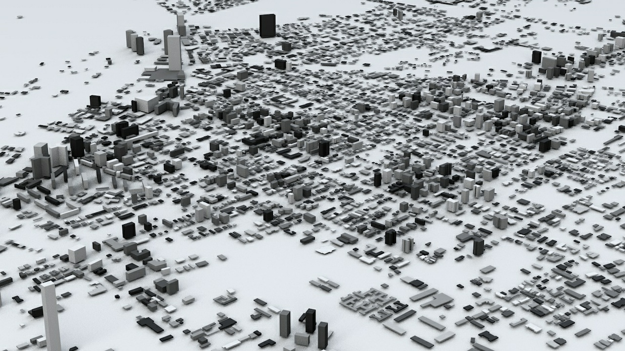Santiago Streets and Buildings Architectural 3D Model