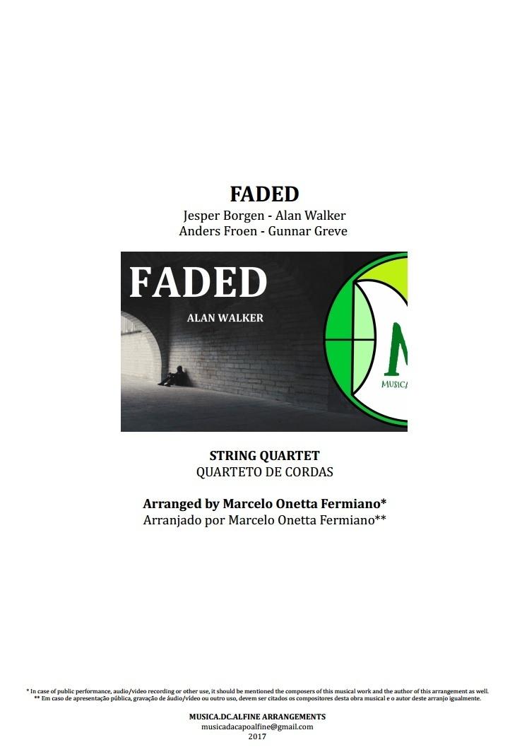Faded | Alan Walker | String Quartet | Score and Parts | Download