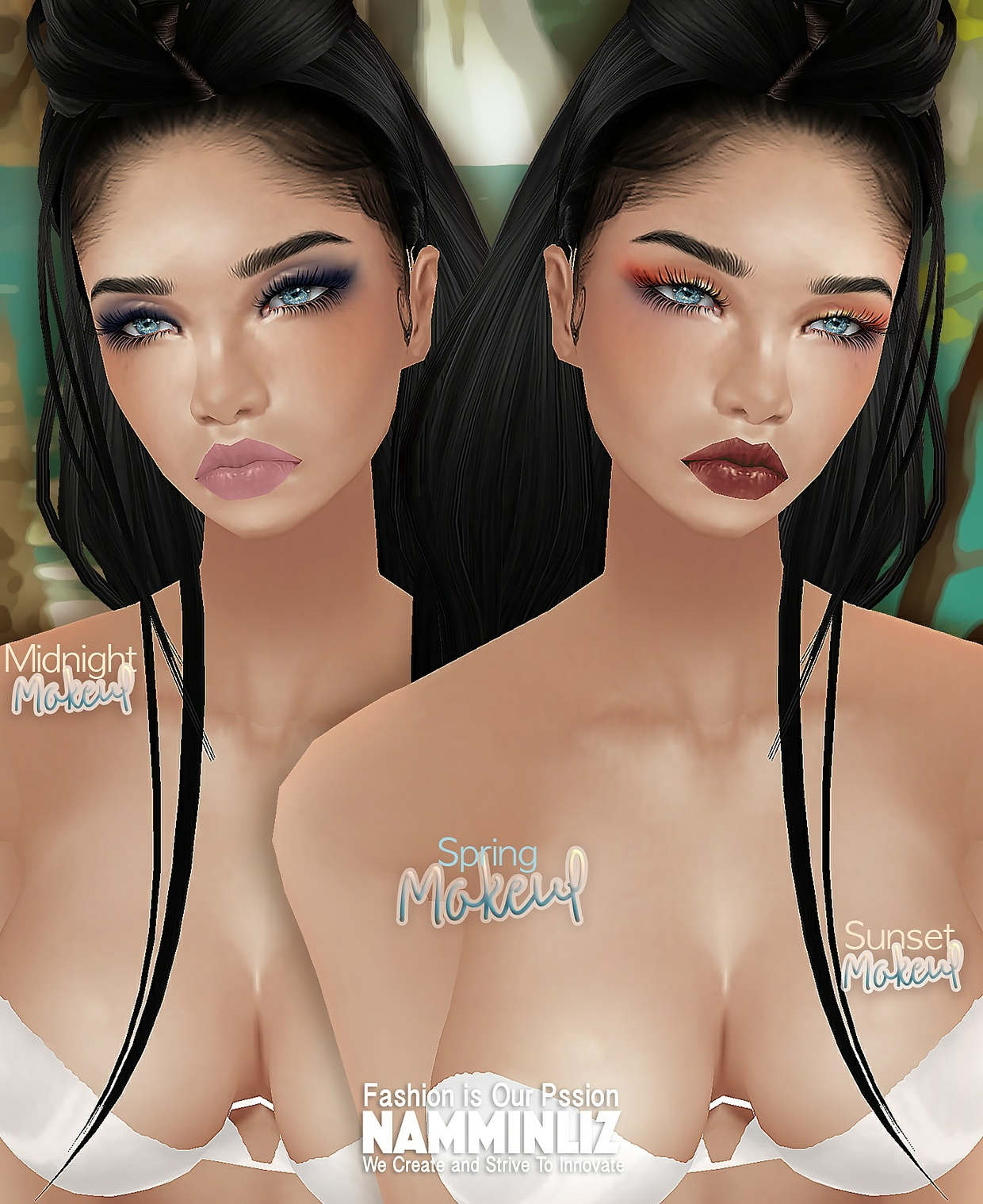 Spring 6 Eyes and Lips Make-up PSD + 1 Skin PNG