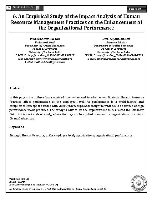 An Empirical Study of the Impact Analysis of Human Resource Management