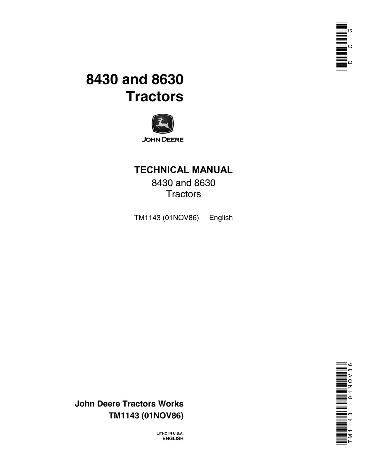 John Deere 8430 8630 - technical manual 1986 - TM1143 - 826 pages - english