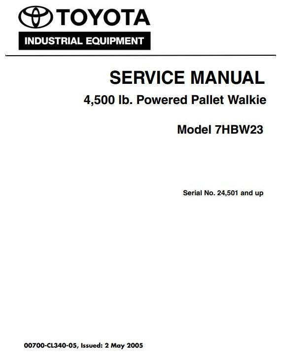 Toyota Pallet Walkie 7HBW23 SN 24501 and up Workshop Service Manual and Wiring Diagrams