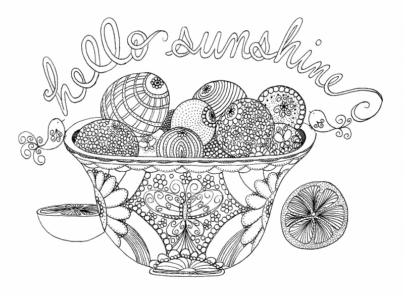Oranges in a Bowl Coloring Page