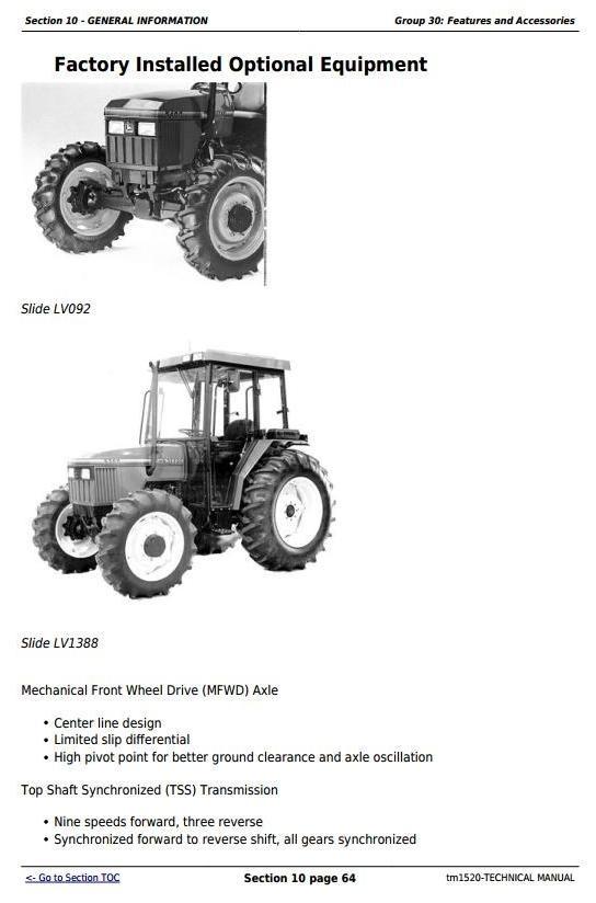John Deere 5200, 5300, 5400 and 5500 Tractors Diagnostic and Repair Technical Manual  (tm1520)