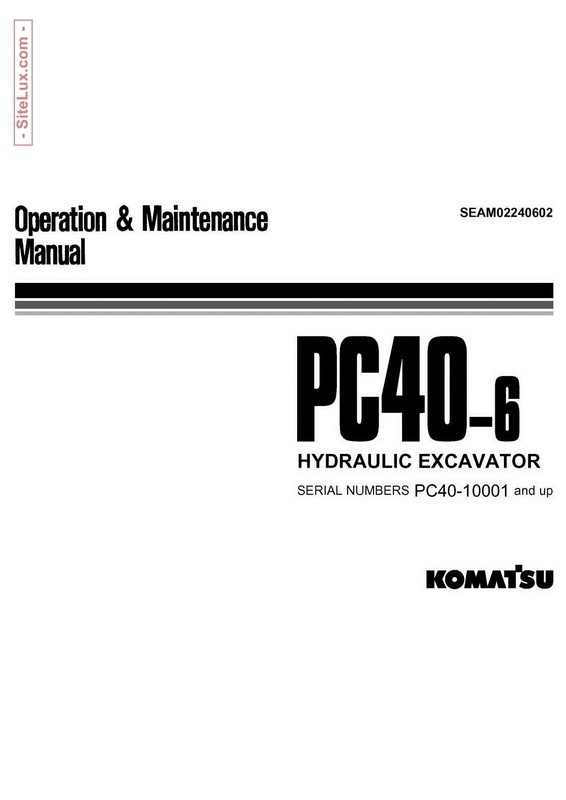 Komatsu PC40-6 Hydraulic Excavator (10001 and up) Operation & Maintenance Manual - SEAM02240602