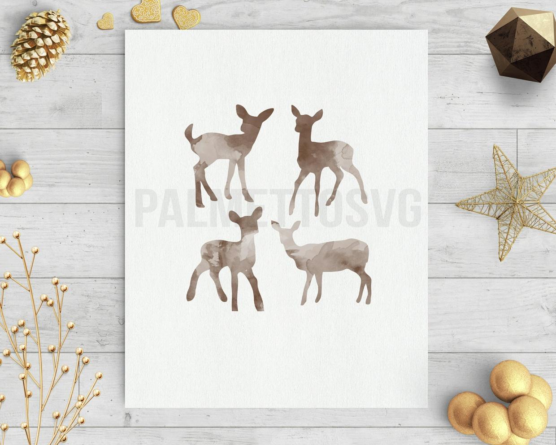 baby deer brown watercolor clip art svg dxf cut file silhouette cameo cricut download