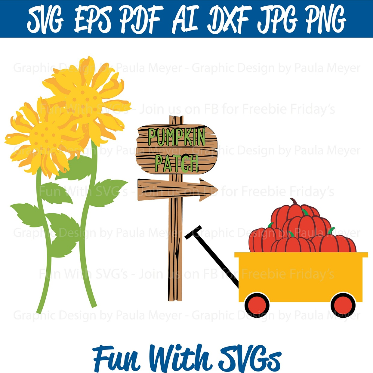 Harvest Sunflower, Pumpkin Patch, Sign and Wagon - SVG Cut, Print or Edit Vector Art