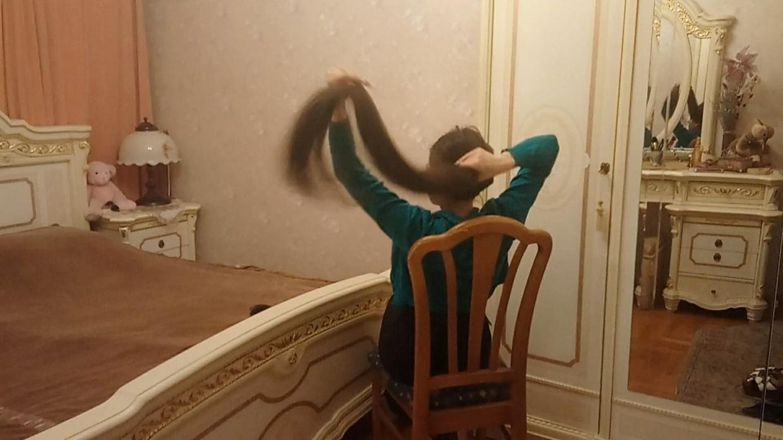 Anastasia Nesterova - Amazing Hair Play in Chair