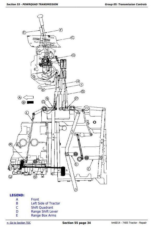 John Deere 7405 Tractor Service Repair Manual (tm6014)