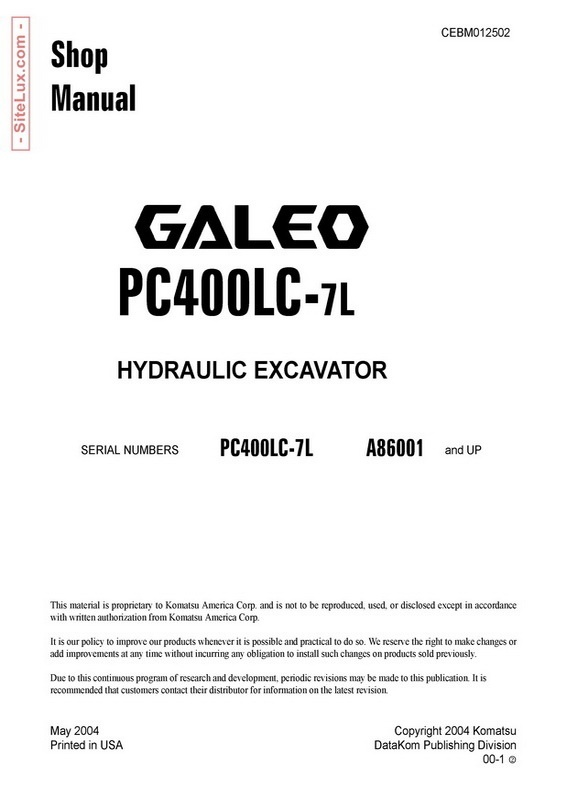Komatsu PC400LC-7L Galeo Hydraulic Excavator (A86001 and up) Shop Manual - CEBM012502
