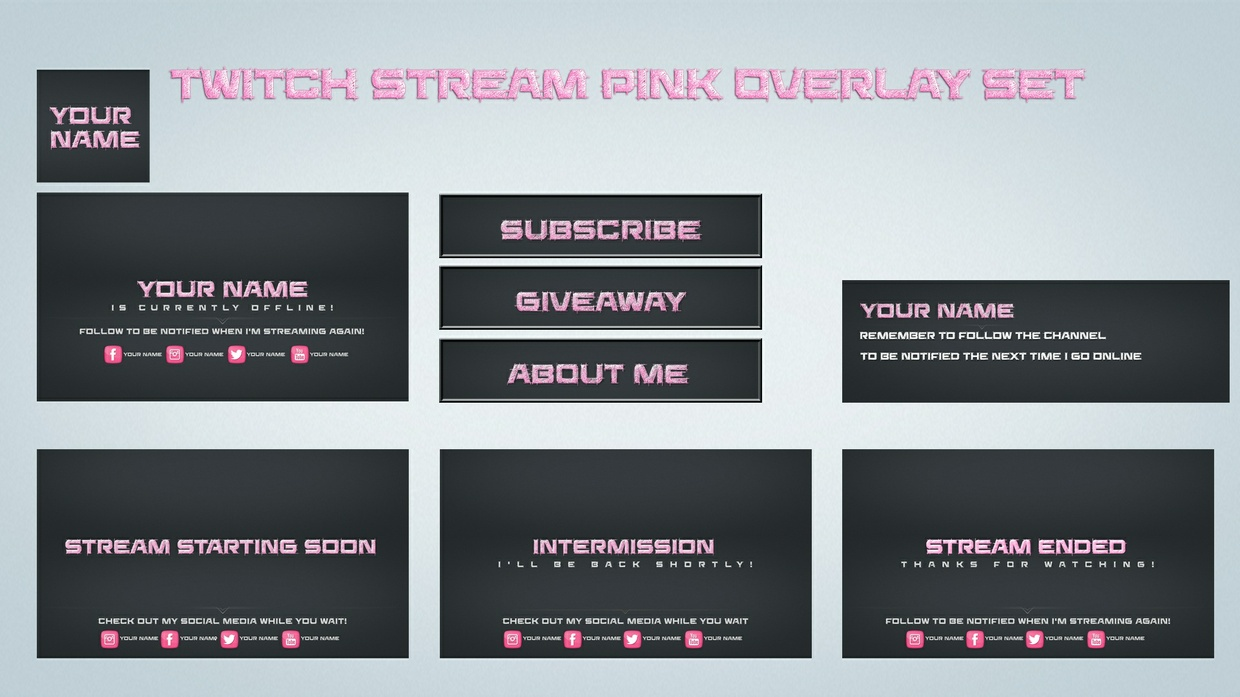 Twitch Stream Pink overlay set