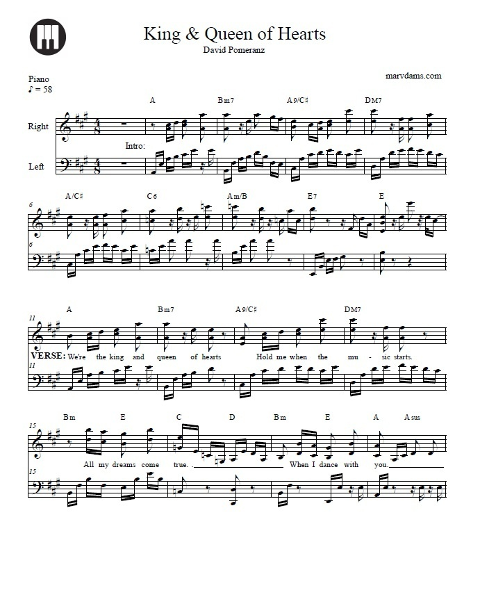 King And Queen Of Heart Piano Sheet Music
