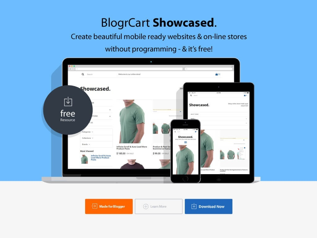 BlogrCart SHOWCASED. Free Responsive Premade Blogger Shopping Cart Template Modern Theme