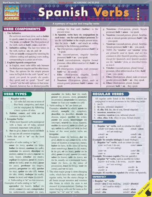 Spanish Verbs Quick Review Study Guide