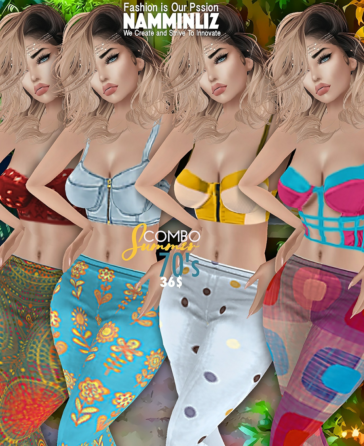 Summer70's COMBO4  Sis3d Outfit all sizes