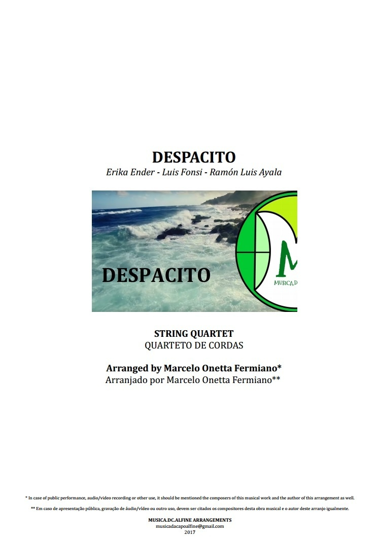 Despacito | Luis Fonsi | String Quartet | Score and Parts | Download | Cuarteto de cordas