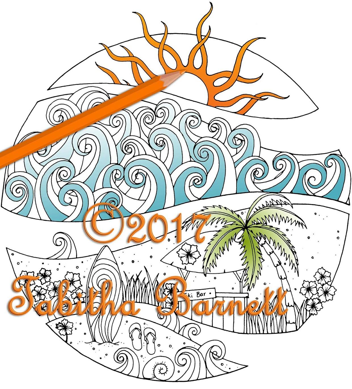 Tropical Broken Circle Coloring Page PG